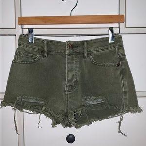 Brandy Melville Green Demin Shorts